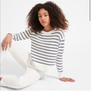 EVERLANE Striped Boxy Cotton Sweater White XS
